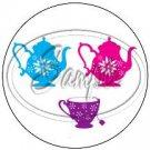 2 Teapot & Cup Scallop Cupcake Toppers ~ Set of 1 Dozen