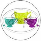 3 Tea Cup Cupcake Toppers #2 ~ Set of 1 Dozen