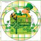 "Lazy Happy Leprechaun ~ St. Patrick's Day #5  ~ 7"" Round Foil Pan Lid Cover"