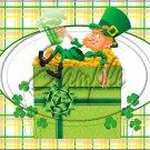 "Lazy Happy Leprechaun #2 ~ St. Patrick's Day ~ Horizontal  ~ 6"" X 8"" Foil Pan Lid Cover"