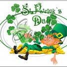 "Lazy Happy Leprechaun #4 ~ St. Patrick's Day ~ Horizontal  ~ 6"" X 8"" Foil Pan Lid Cover"