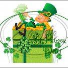 "Lazy Happy Leprechaun #5 ~ St. Patrick's Day ~ Horizontal  ~ 6"" X 8"" Foil Pan Lid Cover"