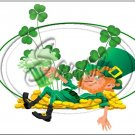 "Lazy Happy Leprechaun #6 ~ St. Patrick's Day ~ Horizontal  ~ 6"" X 8"" Foil Pan Lid Cover"