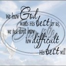 "God Wants His Best For Us ~ Sympathy ~ Horizontal  ~ 6"" X 8"" Foil Pan Lid Cover"