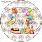 "Happy Birthday Balloons #2 ~ 7"" Round Foil Pan Lid Cover"