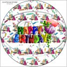 "Happy Birthday Balloons #7 ~ 7"" Round Foil Pan Lid Cover"