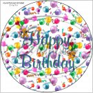 "Happy Birthday Balloons #8 ~ 7"" Round Foil Pan Lid Cover"
