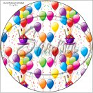 "Happy Birthday Balloons #10 ~ 7"" Round Foil Pan Lid Cover"