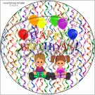 "Happy Birthday Balloons #15 ~ 7"" Round Foil Pan Lid Cover"