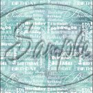"""Happy Birthday word Collage Aqua ~ Vertical  ~ 6"""" X 8"""" Foil Pan Lid Cover"""