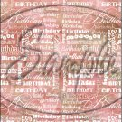 "Happy Birthday word Collage Red ~ Vertical  ~ 6"" X 8"" Foil Pan Lid Cover"