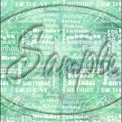 """Happy Birthday word Collage Dark Green ~ Vertical  ~ 6"""" X 8"""" Foil Pan Lid Cover"""