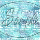 """Happy Birthday word Collage Turquoise  ~ Vertical  ~ 6"""" X 8"""" Foil Pan Lid Cover"""