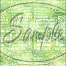 """Happy Birthday word Collage Lime Green ~ Vertical  ~ 6"""" X 8"""" Foil Pan Lid Cover"""