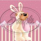Pink Bunny Bear ~  Quart Glass Jar
