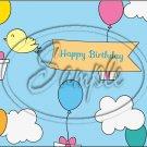 "Happy Birthday Blue Sky ~ Horizontal  ~ 6"" X 8"" Foil Pan Lid Cover"