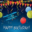 "Happy Birthday Airplane ~ Horizontal  ~ 6"" X 8"" Foil Pan Lid Cover"