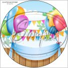 "Happy Birthday #3  ~ 7"" Round Foil Pan Lid Cover"