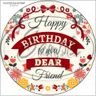 "Happy Birthday #4  ~ 7"" Round Foil Pan Lid Cover"