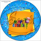 "Happy Birthday #5  ~ 7"" Round Foil Pan Lid Cover"