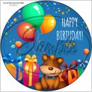 "Happy Birthday #7  ~ 7"" Round Foil Pan Lid Cover"
