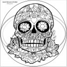 "Sugar Skull Adult Coloring #7 ~ 7"" Round Foil Pan Lid Cover"