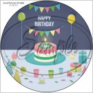 "Happy Birthday #45 ~ 7"" Round Foil Pan Lid Cover"