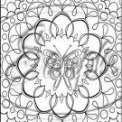 "Adult Coloring ~ Butterfly Mandala -Vertical ~ 6"" X 8"" Foil Pan Lid Cover"
