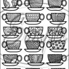 """Adult Coloring ~ Coffee Cups ~ Vertical ~ 6"""" X 8"""" Foil Pan Lid Cover"""