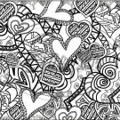 "Adult Coloring ~ Lots of Hearts ~ Horizontal  ~ 6"" X 8"" Foil Pan Lid Cover"