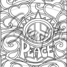 "Adult Coloring ~ Peace Hearts ~ Vertical ~ 6"" X 8"" Foil Pan Lid Cover"