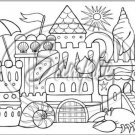 "Adult Coloring ~ Sand Castle ~ Horizontal  ~ 6"" X 8"" Foil Pan Lid Cover"