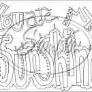 "Adult Coloring ~ You Are My Sunshine ~ Horizontal  ~ 6"" X 8"" Foil Pan Lid Cover"