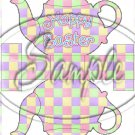 Pastel Checkered Easter ~ Teapot Treat Tote