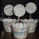 Your Business Logo ~ Scalloped Cupcake Topper & Wrapper Set ~ Set of 1 Dozen