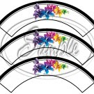 Colorful Lilies ~ Black Edge ~ Cupcake Wrappers ~ Set of 1 Dozen
