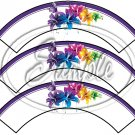 Colorful Lilies ~ Purple Edge ~ Cupcake Wrappers ~ Set of 1 Dozen