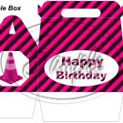 Construction Pink Traffic Cone Happy Birthday   ~ MINI Gable Gift or Snack Box