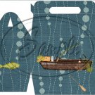 Gone Fishing Fish Bubbles Boat & Gear  ~ MINI Gable Gift or Snack Box