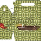 Gone Fishing Fish Green Plaid Boat & Gear ~ Gable Gift or Snack Box