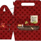 Gone Fishing Fish Red Checkered Boat & Gear  ~ MINI Gable Gift or Snack Box