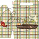 Gone Fishing Fish Green & Blue Plaid Boat & Gear ~ Gable Gift or Snack Box
