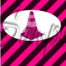 Construction Pink Traffic Cone ~ MINI Candy Bar Wrappers 1 DOZEN