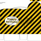 Construction Yellow Happy Birthday ~ Round Top Pinch Treat or Gift Box 1 EACH