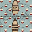 Gone Fishing Fish Bobble ~ Salt & Pepper Shaker Covers Wrappers