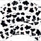 Black & White Cow ~ Scalloped Cupcake Wrappers ~ Set of 1 Dozen