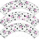 Pink, Black & White Cow ~ Cupcake Wrappers ~ Set of 1 Dozen
