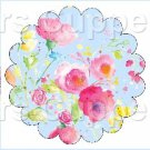 Blue Wild Flowers ~ Scalloped Cupcake Toppers ~ Set of 1 Dozen