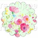 Green Wild Flowers ~ Scalloped Cupcake Toppers ~ Set of 1 Dozen