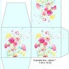 Aqua Wild Flowers ~ Floral  ~ Cupcake Box ~ 1 Dozen
